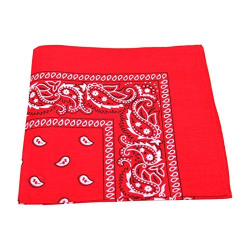 Pañuelo de cachemira, para hombre o mujer, para la cabeza o el cuello, 100 % algodón Rojo rosso Talla única