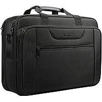 KROSER Laptop Tasche 18,5 Zoll Business Tasche Aktentasche Passt Bis Zu 18 Zoll Laptop Wasserabweisend Tasche Umhängetasche Erweiterbar Extra große Kapazität für Reisen/Schule/Männer/Frauen-Schwarz