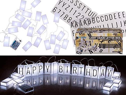 Lichterkette, Letterbox, mit 70 auswechselbaren Buchstaben, Zeichen und 20 warmweißen LED (Zeichen Mit Buchstaben)