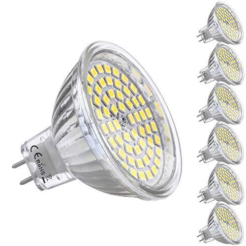 MR16 LED 12V AC/DC Kimjo, 5W GU5.3 LED Kaltweiss 6000K 400LM Lampe Ersatz für 35W Halogen CRI 82 Abstrahlwinkel 120º Nicht Dimmbar Ø50 x 48mm 6er -