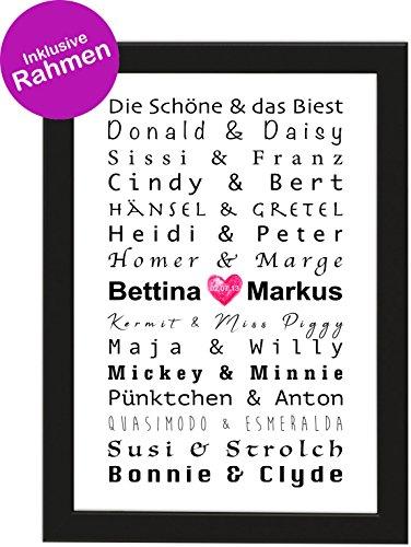 isiertes Poster zur Hochzeit DIN A4 Berühmte Paare, gerahmt mit schwarzem Bilderrahmen, Hochzeitsgeschenk, Hochzeit, Gastgeschenk, Poster mit Rahmen, Personalisierbare Poster ()
