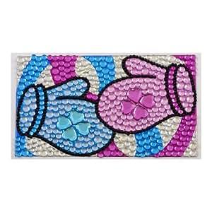 MP3 MP4 Player Roze Blauw Handschoenen Print Bling Bling Rhinestone Sticker van de Verbinding