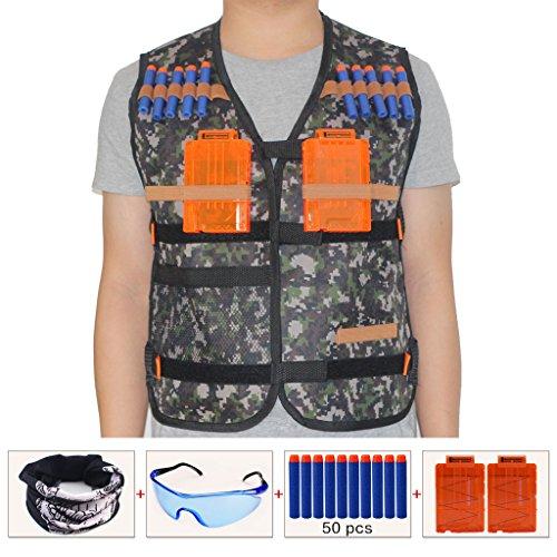 HONGCI Kinder Dschungel Taktische Weste Jacke Kit für Nerf Gun N-Strike Elite Series Sniper (kommt mit Gesichtsmaske + Schutzbrille + 50er 7.2cm Pfeile Nachfüllpack + 2er Magazin für 5-Pfeile)