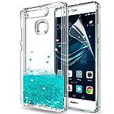 LeYi Hülle Huawei P9 Glitzer Handyhülle mit HD Folie Schutzfolie,Cover TPU Bumper Silikon Flüssigkeit Treibsand Clear Schutzhülle für Case Huawei P9 Handy Hüllen ZX Turquoise
