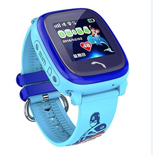 Smart Watch IP67 Orologio Impermeabile DF25 Orologio SOS Chiamata WIFI Posizione Dispositivo Tracker Kids Safe Monitor Anti-Lost,Blue