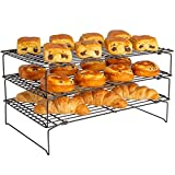 Andrew James 3 Tier Cooling Rack | Non Stick Oven Safe and Heat Resistant | Use with Baking Tray | Space Saving Stackable Wire Trays with Collapsible Legs for Cakes and Biscuits