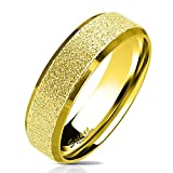 Bungsa 49 (15.6) Goldener Ring für Damen & Herren - sandgestrahlter, Goldener Damen-Ring aus Edelstahl mit abgerundeten Kanten - Edelstahlring Geeignet als Verlobungs-Ringe & Freundschafts-Ringe