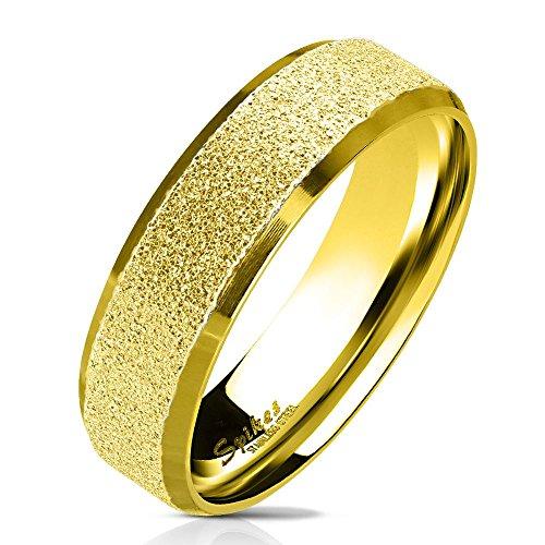Bungsa 67 (21.3) Goldener Ring für Männer & Damen - sandgestrahlter, Goldener Herren-Ring aus Edelstahl mit abgerundeten Kanten - Edelstahlring Geeignet als Verlobungs-Ringe & Freundschafts-Ringe