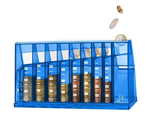 ECB Münzsortierer Euro Spardose   Für Büro und Kinderzimmer   Als Geschenk für Erwachsene und Kinder   Auch aus recyceltem Plastik verfügbar   Abschließbar (mit Schlüssel)   Transparent Blau