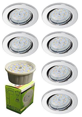 """Trango 6x LED Einbaustrahler Einbauleuchten """"chrom"""" incl. 6x LED Modul nur 3cm Einbautiefe TG6729-068MO"""