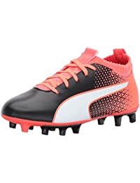PUMA Unisex-Kids Evoknit Ftb FG Soccer-Shoes, Puma Black-Puma White Fiery Coral, 2. 5 M US Little Kid