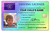 Coolrideplates® Kid\'s Personalised Driving Licence *SIMPLY MESSAGE US WITH THE DESIRED NAME AND PHOTO AFTER ORDERING*