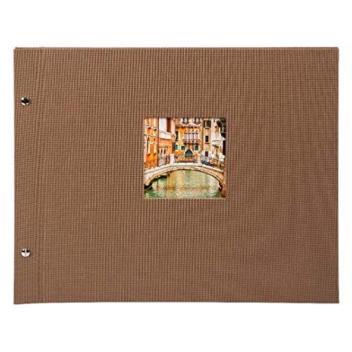 Goldbuch Schraubalbum mit Fensterausschnitt, Bella Vista Trend 2, 39 x 31 cm, 40 schwarze Seiten mit Pergamin-Trennblättern, Erweiterbar, Leinen, Coffee Bronze, 28716