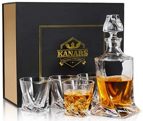 KANARS 5-teiliges Whisky Karaffe Set, WD04 Whiskey Dekanter Set, 800ml Karaffe mit 4×300ml Gläsern, Kristallglas Whiskybecher, Hochwertige Qualität, Geschenkbox 4 Gläser
