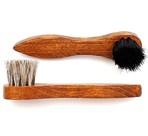 DELARA Zwei hochwertige Cremebürsten aus Holz mit weichem Rosshaar, zum Auftragen Schuhcreme auf Schuhe, Taschen etc. aus Glattleder - Made in Germany
