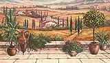 Artland Leinwand-Bild fertig aufgespannt auf Holzfaserplatte mit Motiv A. Heins Terrasse in der Toskana Landschaften Europa Italien Malerei Braun 40 x 70 x 1,2 cm D1UD