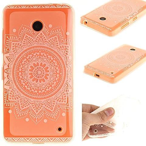 Ooboom® Nokia Lumia 630/635 Coque Housse Transparent TPU Silicone Gel Étui Cover Case Ultra Mince Slim pour Nokia Lumia 630/635 - Totem Fleur Blanc