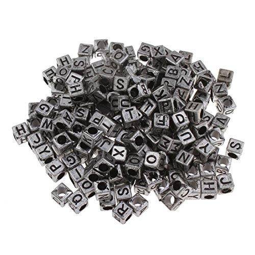 Perlin - 300 Buchstaben Perlen, Buchstabenperlen 6mm Würfel Silberfarbe ''A-Z'' mit schwarze buchstaben, Alphabet beads, Perlenmischung Perle zum fädeln für Armbänder Auffädeln, Halsketten D100 x2 (Alphabet Perlen Silber)