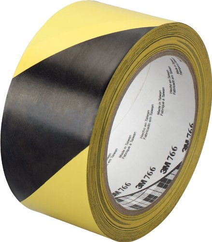 3M Nastro adesivo segnaletico 766 Film Vinilico, 50 mm X 33 m, Nero e Giallo, 1 Pezzo