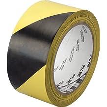 3M Gefahren-Markierungs-Klebeband 766i / Gestreiftes Warnband zur Boden- und Sicherheitsmarkierung mit PVC-Träger in Schwarz-Gelb, 50mm x 30m, 0,13mm