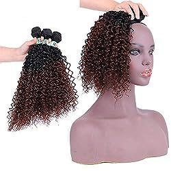 JKHOIUH Kinky Curly Hair Extension 3 Bundles - T1 / 33# Braun Brasilianisches Haar Afro Kinky Weave - Einfache Installation & Nähen Composite-Haarspitzeperücke Rollenspiel Perücke Lange und Kurze Fra