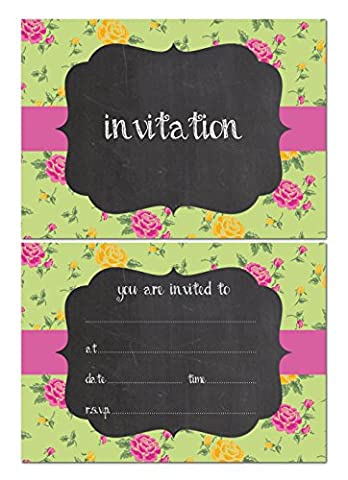 Party Invitations - Vintage chalkboard effect - 24 x A6 postcard size cards - suitable for any celebrations! (With