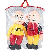 Kashish Gift Gallery Motu Patlu Teddy Bear for Kids (Red and Yellow, 38 cm) -Set of 3