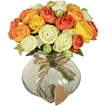 Ramo de flores artificiales, 10 cabezas, ideal para decorar la casa o una boda, no incluye florero ni cesta, 1 unidad de flor, 4 colores