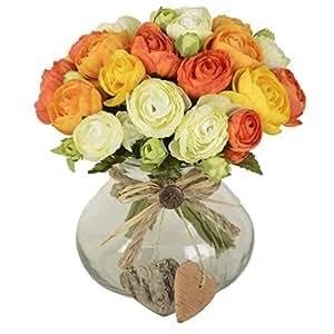 10 teste Gemma di tè Bounquet fiore artificiale per la casa e matrimonio senza vaso & Basket, 1bunch di fiore, arancione