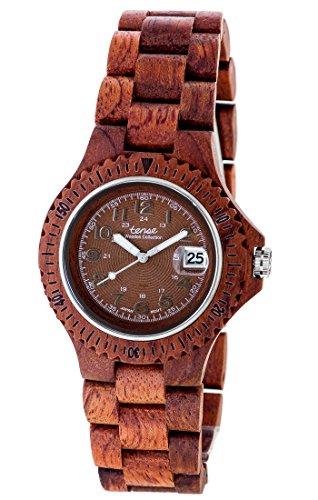 Holzuhr TENSE Womens Compass Premium Damen-Uhr L4100R-BR - Nat&uumlrliches Rosenholz L4100R-BR