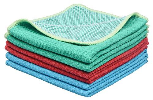 sinland-microfibre-dish-cloth-kitchen-cloths-with-poly-scour-side-30cm-x-30cm-assorted-colour-2-blue