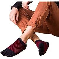 1 par Calcetines cortos para hombres, tira antideslizante con estampado de cinco dedos, hecha de calcetines de algodón Bobury