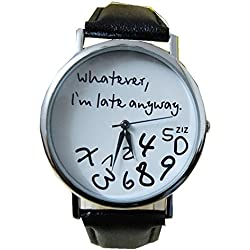 WINWINTOM Women's Whatever I am Late Anyway Letter Leather Watches-Black