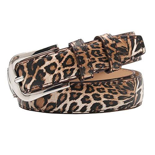 Las mujeres ocasionales de imitación de la PU de la correa de cuero de moda femenina cinturón de cintura para pantalones vaqueros cintura con aleación de leopardo de impresión