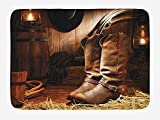 EJjheadband Western Bath Mat, Wild West Theme Boots in Wooden Room Classical Folkloric Old Fashioned Wild Sports Theme, Plush Bathroom Decor Mat with Non Slip Backing, 23.6 X 15.7 Inches, Brown