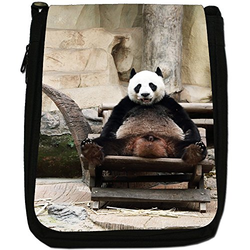 Panda Medium Nero Borsa In Tela, taglia M Funny Panda In A Chair