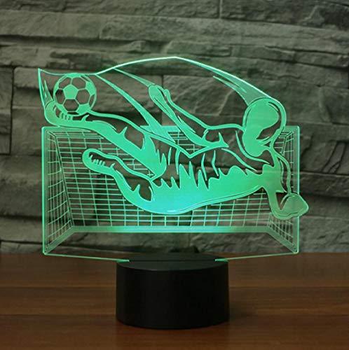 Joplc 3D Flying Kick Fußball Tischlampe Visuelle Acryl Nachtlicht LED USB Fußball Leuchte Kinder Geschenk Wohnkultur -