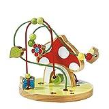 Solini Motorikschleife Fliegenpilz 14 Teile / Spielzeug / Kinderspielzeug - 2 Schleifen, mehrfarbig, Birkenholz - Holzspielzeug für Junge/Mädchen