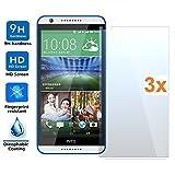 Pack 3x Pellicola salvaschermo per HTC DESIRE 820, vetro temperato, di qualità Premium, Elettronica Rey®