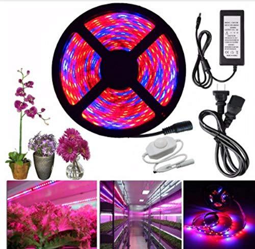 xiadsk Pflanzenwachstumslampe Vollspektrum 370nm-780nm LED-Streifenblume Pflanzenlicht dimmbar Gewächshaushydroponik + Netzteil