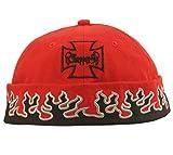 Cap COCO-Caps - ChillOuts - rot mit schwarzen Flammen gerändert