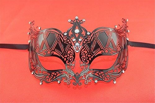 Masken Gesichtsmaske Gesichtsschutz Domino falsche Front Venedig Metall Maske Halloween Make-up Abschlussball Party Prinzessin bemalte Hochzeitsmaske Schwarz