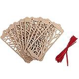 MagiDeal 10pieces Holz Lesezeichen Etiketten Label Anhänger Dekoration Basteln mit Seil Hochzeit Party Dekor - Baum Rechteck, 4.5*12.5*0.2cm