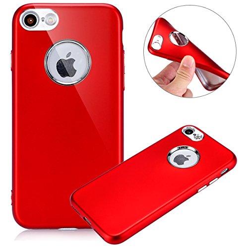 Cover iPhone 7, Custodia iPhone 7 Blu, Case in Silicone Morbido TPU, Surakey Back Cover Gel Gomma Sottile e Flessibile Custodia Tinta Unita Semplice Protettiva Bumper Antigraffio Antiurto Protezione P Rossa