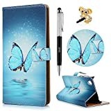 Sony Xperia L1 Case Lanveni Premium PU Leather Cover Magnetic Clasp Wallet Case Built-in Stand Card Slots Cash Pouch Case For Sony Xperia L1 with Stylus Pen & Dust Plug - Blue Butterfly