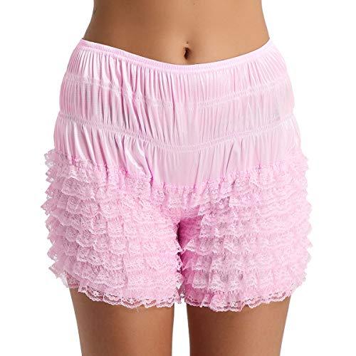 Agoky Damen Unterhose Unterrock Shorts langes Bein Schlüpfer Slip mit Rüschen Spitze Sicherheits Shorts Unterwäsche Leggings Kurz Hose Yoga Tanzen M-XL Rosa M(Taille 70-140cm) -