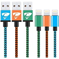 iPhone Charger Cable Rephoenix Lightning Cable [3Pack 1M] Nylon Braided Fast Charging iPhone Cable for iPhone 6/ X / 8 /8 Plus/ 7/ 7Plus/ 6s / 5/ 5s/ SE, iPad and More-blue,orange,green