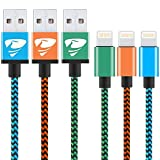 iPhone Charger Cable Rephoenix Lightning Cable [3Pack 1M] Nylon Braided Fast Charging iPhone Cable for iPhone 6/ X / 8 /8 Plus/ 7/ 7Plus/ 6s / 5/ 5s/ SE, iPad and More-blue,orange,green image