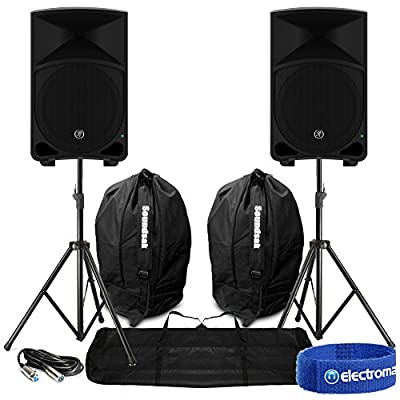 "2x Mackie Thump12 12"" Active Powered Loud Bass DJ PA Speakers Cables Carry Bags"