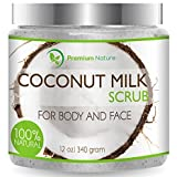 Coconut Milk Body Scrub 12 oz For Face & Body, 100% Natural By Premium Nature